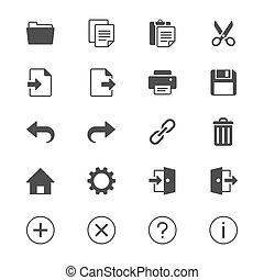 aplicación, barra de herramientas, plano, iconos