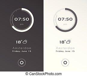 aplicación, illustration., reloj, options., luz, oscuridad, ...