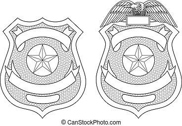 aplicación, ley, insignia, policía