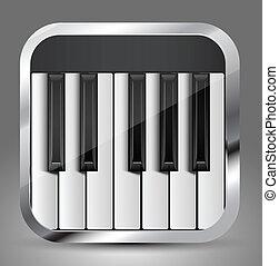 aplicación, piano, icono