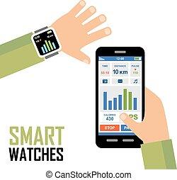 aplicación, rastreador, wrist., smartwatch, condición física