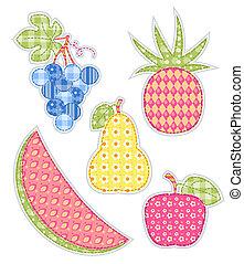 aplicación, set., fruits