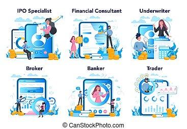 aplicación, set., platform., idea, finanzas, acción, ...