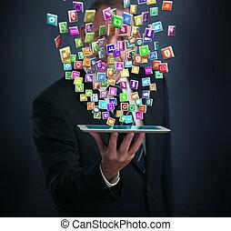 aplicación, smartphone, nube, iconos