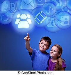 aplicaciones, el tener acceso, niños, nube