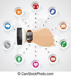 aplicaciones, reloj, elegante