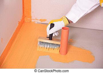 aplicado, cuarto de baño, waterproofing, piso, constructor, cepillo