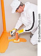 aplicado, plomero, waterproofing, piso, murciélago, puño, cepillo