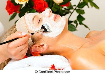 aplicando, beleza, -, máscara, cosméticos, facial