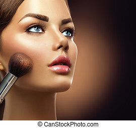 aplicando, beleza, makeup., closeup, maquiagem, menina, modelo