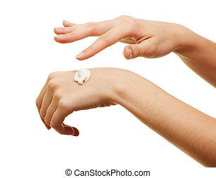 aplicando, dela, beleza, algum, loção, menina, mão, branca