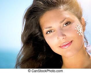 aplicando, dela, beleza, sol, face., bronzeando, menina,...