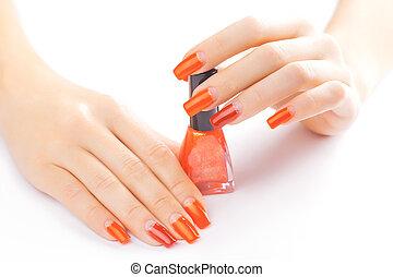 aplicando, isolado, prego, polish., manicure., vermelho