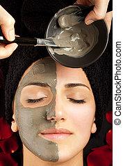aplicando, máscara, facial