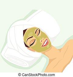 aplicando, mulher, acne, tratamento