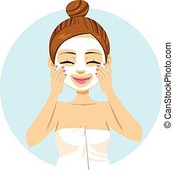 aplicando, mulher, máscara, facial