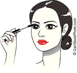 aplicando, olho mulher, mascara