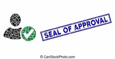aplique, selo, retângulo, angústia, usuário, aprovação, colagem, selo