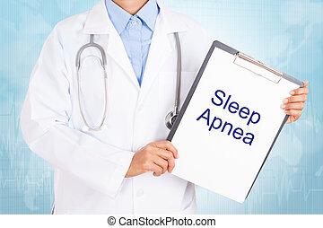 apnea, segurando, doutor, texto, paper., área de...