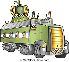 apocalíptico, caminhão, vetorial, gigante