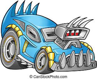 apocalíptico, car, vetorial, veículo