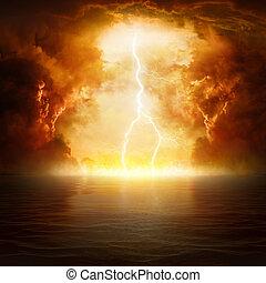 apocalíptico, fin, reino, -, juicio, plano de fondo,...