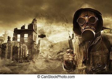 apocalíptico, máscara, poste, gas, sobreviviente