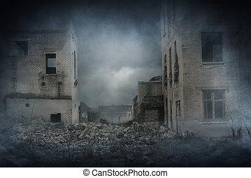 apocalíptico, ruinas, city., desastre, efecto
