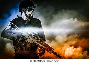 apocalíptico, soldado, assalto, nuvens, rifle
