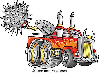 apocalíptico, vetorial, caminhão, veículo