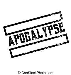 apocalypse advertising sticker, label, stamp on white