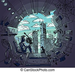 The destroyed world is visible through the hole of the construction pipe. Sitting figure of a girl and a cat watching the destruction of the environment