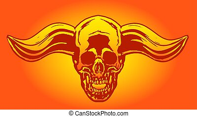 Apocalypse demon skull from hell with bullish horns. The horror picture to Halloween. Monsters massacre. Vector illustration.