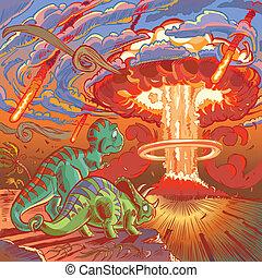 apocalypse, dinosaures, montre, deux