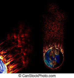 Apocalypse Earth - Two burning earths with fume and flames