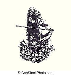 Apocalypse grim reaper black and white .vector illustration