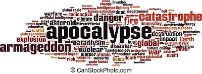 Apocalypse word cloud concept. Vector illustration