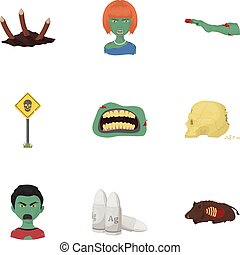 Apocalypse ,killed, survival, and other web icon in cartoon style. Terrible, genus, bullet, icons in set collection.