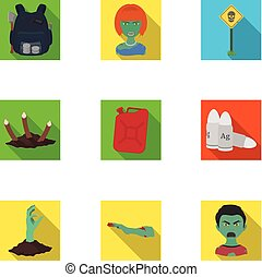 Apocalypse ,killed, survival, and other web icon in flat style. Terrible, genus, bullet, icons in set collection.