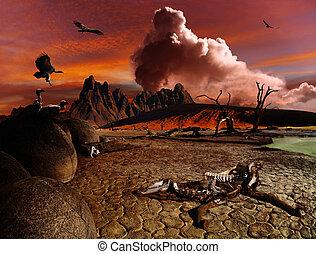 apocalyptic, fantasien, landskab