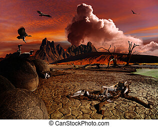 Apocalyptic fantasy landscape - Apocalyptic fantasy, death...