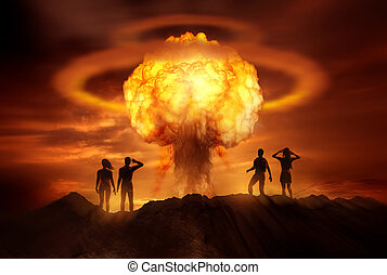 Apocalyptic Nuclear Bomb - People watching the end of the...