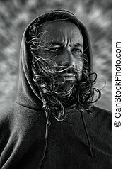 Apocalyptic portrait - An powerful portrait of a man with a...
