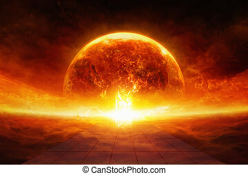 Earth in hell - Apocalyptic scientific background - burning...