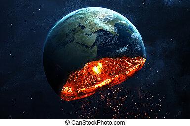 apocalyptique, éléments, fin, illustration, exploser, image, meublé, -, planète, ceci, time., nasa, fond, la terre, armageddon