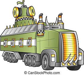 apocalyptique, camion, vecteur, géant