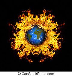 apocalyptique, -, planète, exploser, fond, la terre