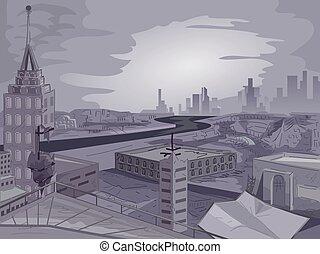 apocalyptique, scène ville