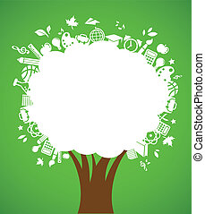 apoie escola, -, árvore, com, educação, ícones