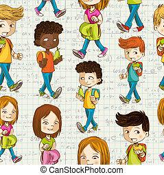 apoie escola, caricatura, crianças, educação, seamless, pattern.